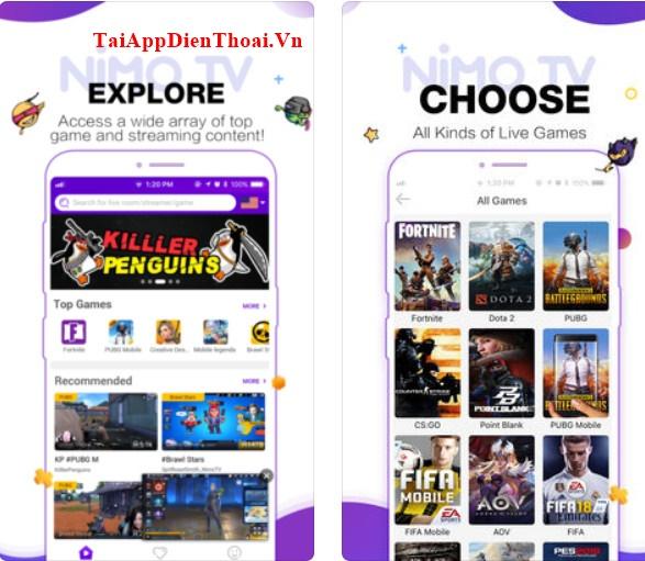 Tải nimo TV ios , apk - Ứng dụng xem và livestream trên